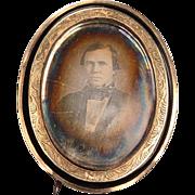 Daguerrotype Brooch: Late 1800's - G.F.
