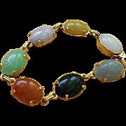 "Classic BRACELET: 14kt Gold, Cabochon Semi Precious Stones - Small Size 7"""