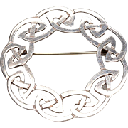 "BOLD Celtic Design, Sterling Silver Brooch: Large 2"" Diameter, Hallmarked"