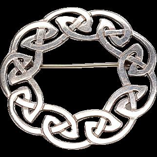 """BOLD Celtic Design, Sterling Silver Brooch: Large 2"""" Diameter, Hallmarked"""