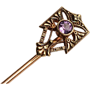 Gold Stick Pin with Amethyst