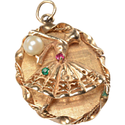 14kt Gold Ballerina Charm: Ruby, Emerald, Pearl