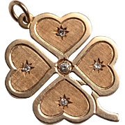 14kt Gold, Diamonds Lucky Clover Charm