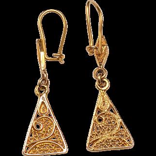 14kt Gold Filagree Pierced Earrings