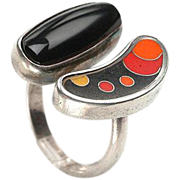 Signed Enamel, Sterling Ring - Unisex, Sizable, Abstract