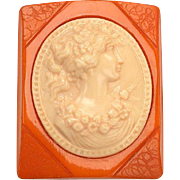 Large Two Color Bakelite Cameo Brooch c.1940's