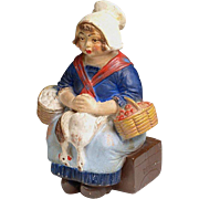 Edwardian Terra Cotta COIN BANK:  French peasant girl