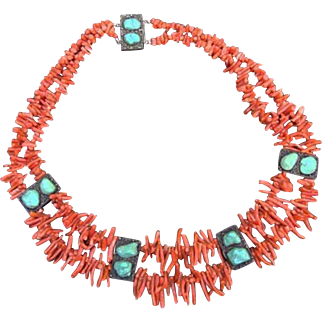 Vintage Branch Coral, Turquoise Nuggets, Chinese Silver Necklace