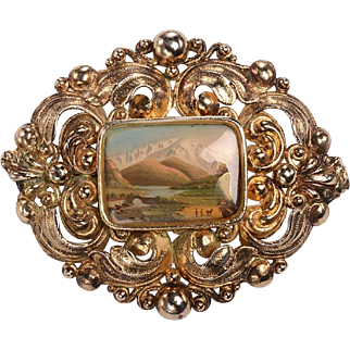 Victorian GF Brooch, Miniature Oil Paining