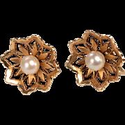 14kt, 8mm Pearl Earrings 1950's