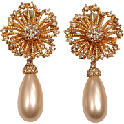 Signed Ciner Pearl Drop and Rhinestone Earrings
