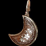FREE US shipping - Edwardian Shell, Silver Pique Pierced Earrings
