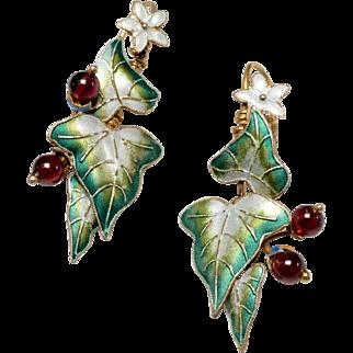 Vintage Silver Vermeil, Enamel Leaf Pierced Earrings
