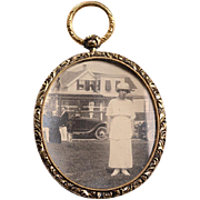 Unusual 14kt Photo Pendant