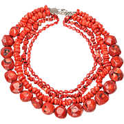 Vintage 4 Strand Red Coral Bead Necklace with Sterling Clasp