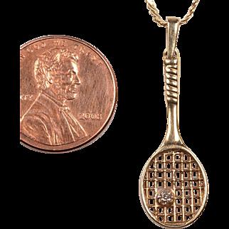 14kt Tennis Racket Charm w/diamond and 14kt chain