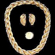 Signed KRAMER necklace, earrings: late 1950's - faux diamonds