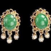Vintage 14kt Gold, Jade, Pearl Earrings