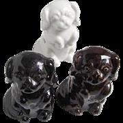 Three Vintage, Multi Plug, Electrical Receptacles: Porcelain Spaniels