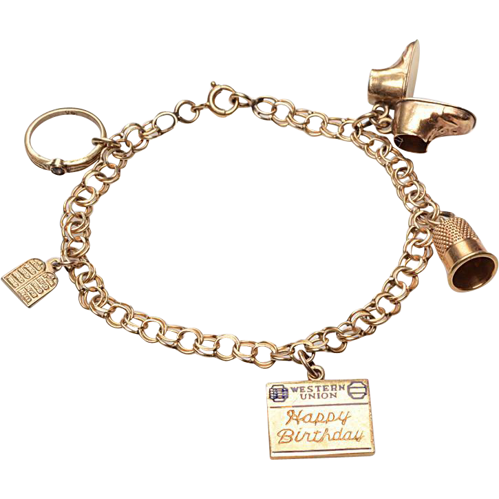 14kt charm bracelet c 1950 s from blackbirdantiques on