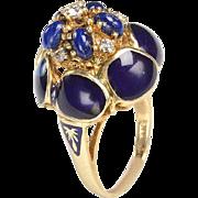 Handmade RING: 1940s Gold, Diamond, Lapis with Cobalt Blue Enameling