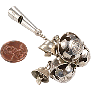 Victorian Silver Baby Bell Rattle, Whistle