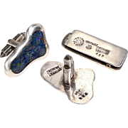 Signed Mexican Silver Cufflinks set with Lapis - Mid Century Modern
