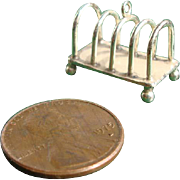 Tiny Silver Plate Doll House Toast Rack