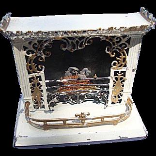 Ornate Tin Mini Dollhouse Fireplace: German - Victoriana