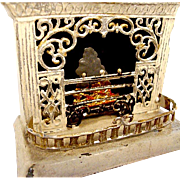 Ornate Tin Mini Dollhouse Fireplace: German - Victoriana