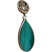 "1.5"" long Malachite, 14kt Gold Drop Vintage Earrings"