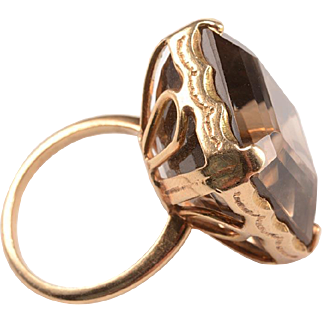 Vintage Smoky Topaz Quartz Ring in 14kt Gold