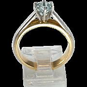 18kt, Platinum Ring with Solitaire Aquamarine