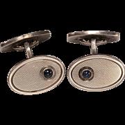 Edwardian 835 Silver, Sapphire Cufflinks