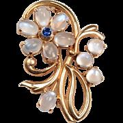 14kt, Moonstone, Sapphire Flower Brooch