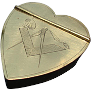 Late 18th c. English Brass Snuffbox:  Heart Shaped with Hand Engraved MASONIC Design