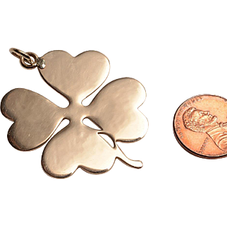 Large 14kt Yellow Gold Clover Charm:  A Four Leaf Clover for More GOOD LUCK in the New Year