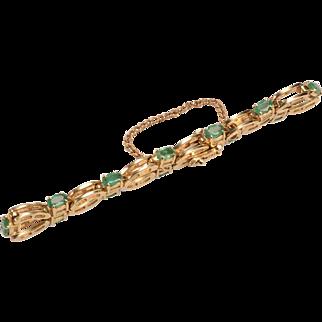 14k Gold, Emeralds Vintage Bracelet