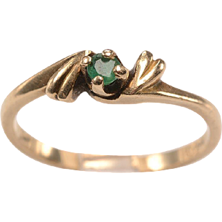 Early 1900's Emerald, 14kt Yellow Gold Ring - Size 5 1/4 - Love token,Engagement ring, July birthday