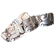 Mexican Sterling Silver Bracelet:  signed Victoria Brilanti, Taxco - Fine vintage condition - 1950's-1960's - Abstract design