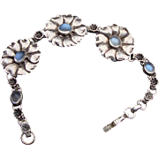 Sterling, Blue Moonstone Bracelet:  1950's
