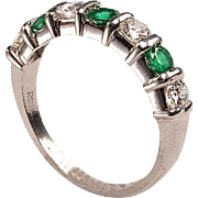 Vintage Platinum, Diamonds, Emeralds Band
