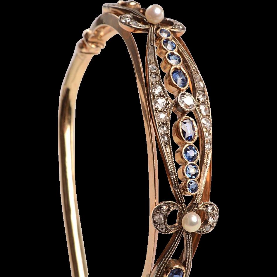 14kt Gold Gemstone set Bangle Bracelet