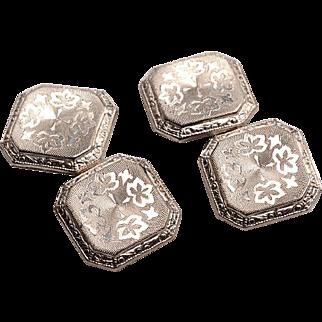 Edwardian 14kt White Gold Cufflinks