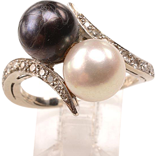 14kt, Diamonds, Cultured Pearls Ring