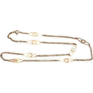 14kt Gold Station Chain: 18""