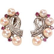 14kt, Diamonds, Rubies, Cultured Pearl Earrings