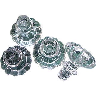 7 Early Mold Blown Glass Knobs