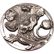 c.1910 English Silver Button:  Poppies