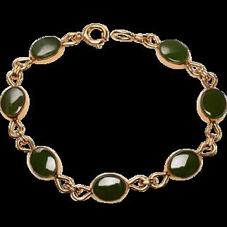 1950's Gold Filled, Jade Link Bracelet